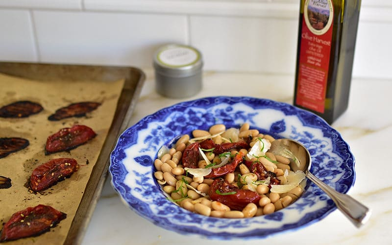 White beans with zaatar roasted tomatoes and olive oil