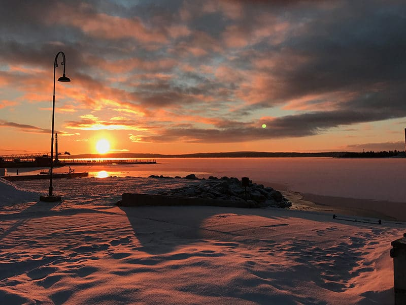 Sunrise over Little Traverse Bay in winter up north in Michigan
