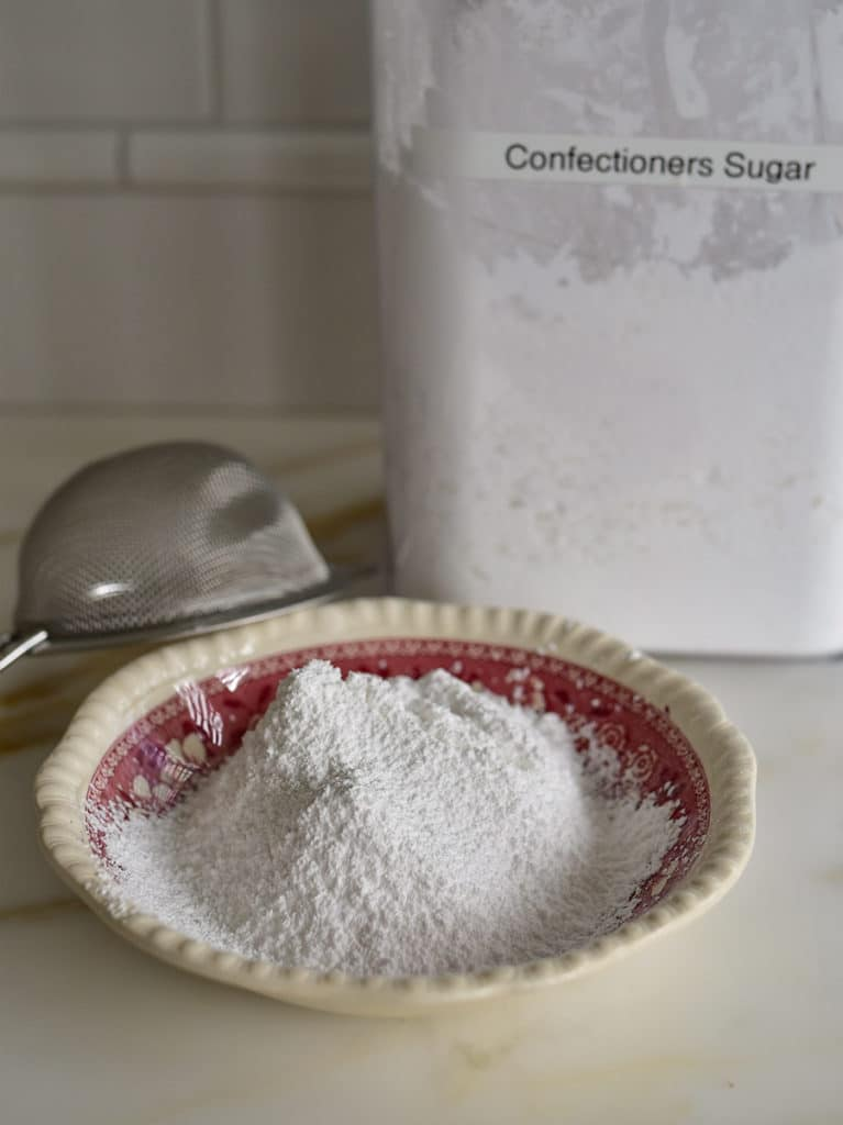 Confectioners sugar in a bowl