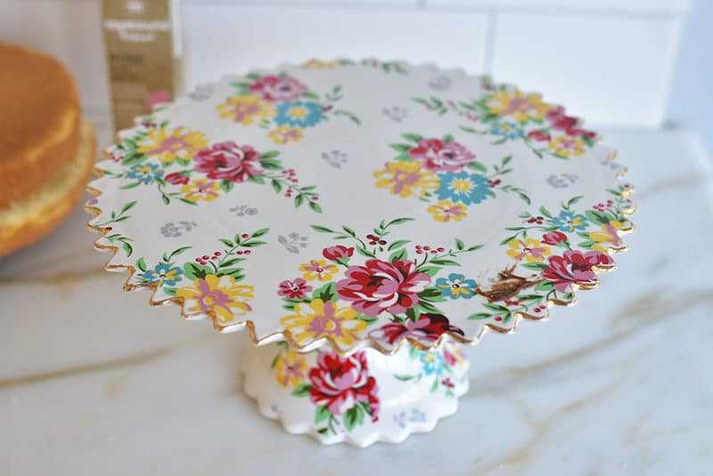 Rose painted footed cake plate