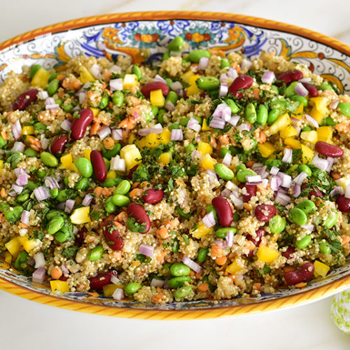 Quinoa Protein Salad in a Deruta serving dish