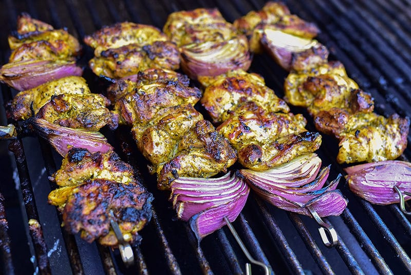 Chicken shawarma skewers on the grill