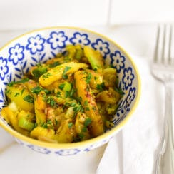 Sauteed squash cores in a little bowl