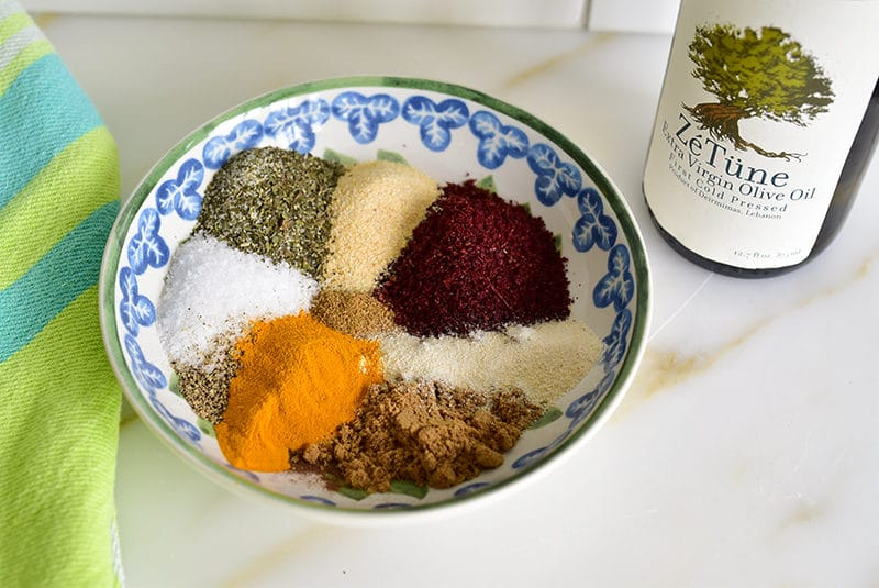 Spices in a bowl for chicken shawarma