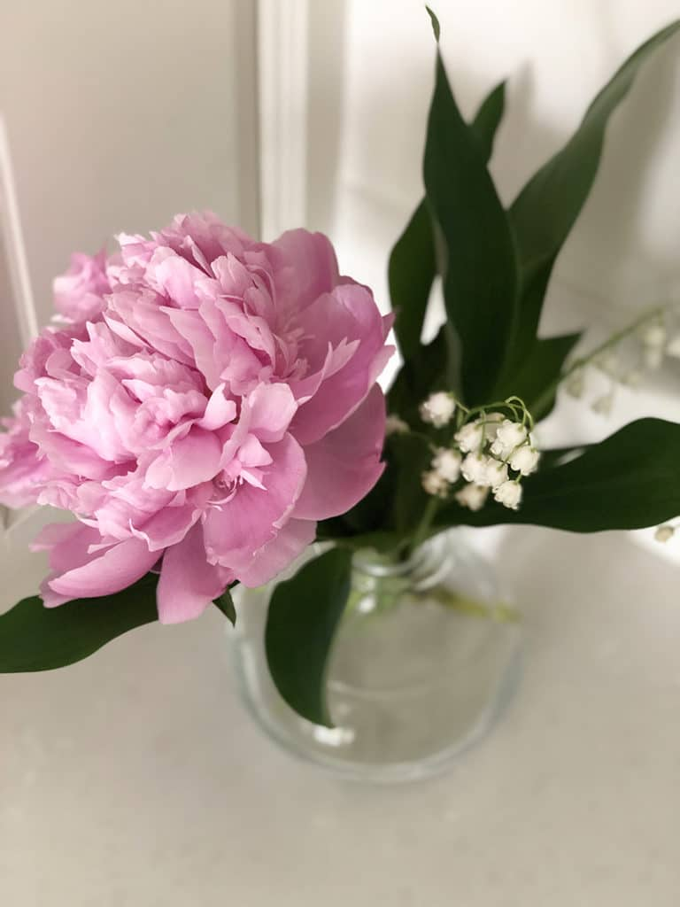 Peony and Lily of the Valley in a vase