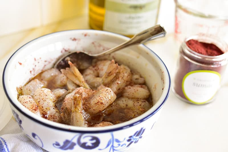 Garlicky sumac shrimp in marinade