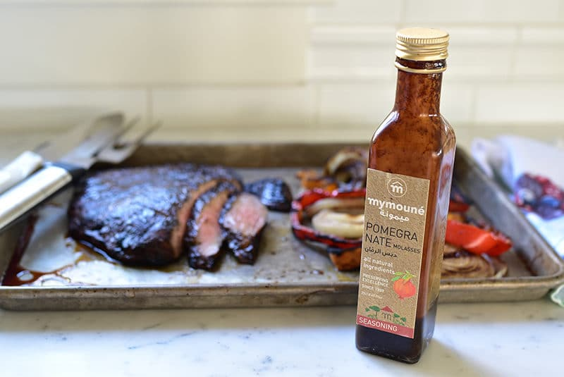 pomegranate molasses with marinated flank steak and vegetables