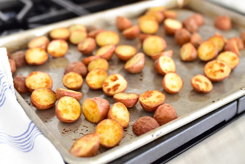 Roasted new potatoes on a sheet pan
