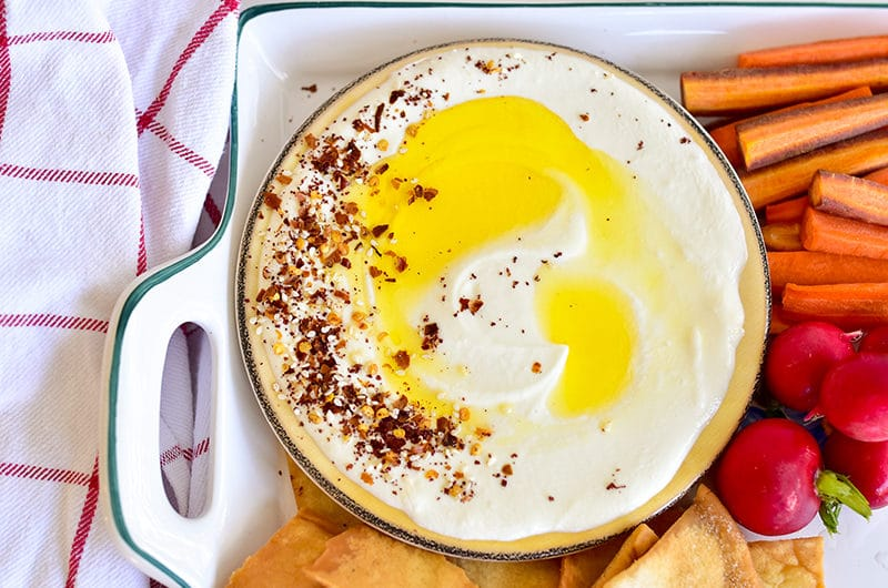 Whipped Feta Dip topped with spices and olive oil