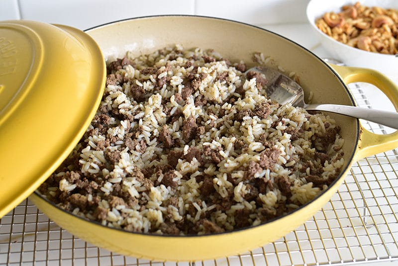 Rice and meat in a yellow dish