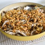 Mixed Nut Rice Pilaf in a yellow baking dish
