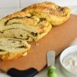 Slices of za'atar swirl bread on a board