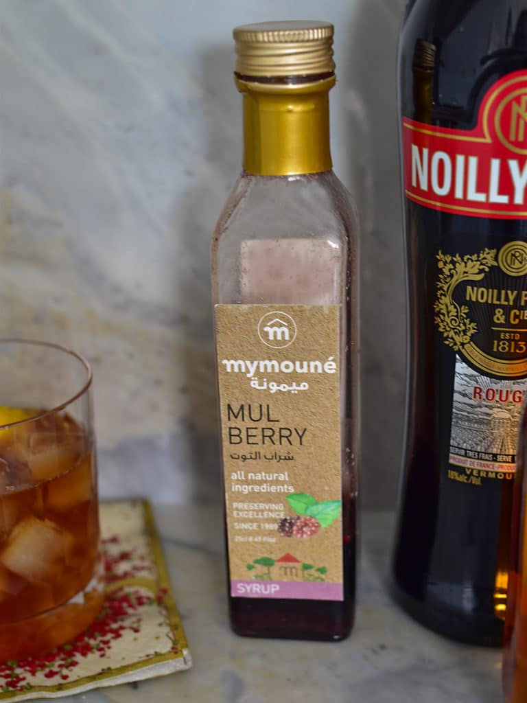 Mulberry syrup on a marble bar