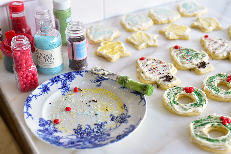 Blue and white plate with sprinkles for cut-out cookies
