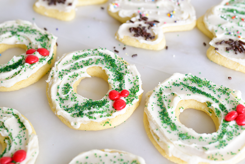 Frosted Cut-Out Cookies shaped like a wreath