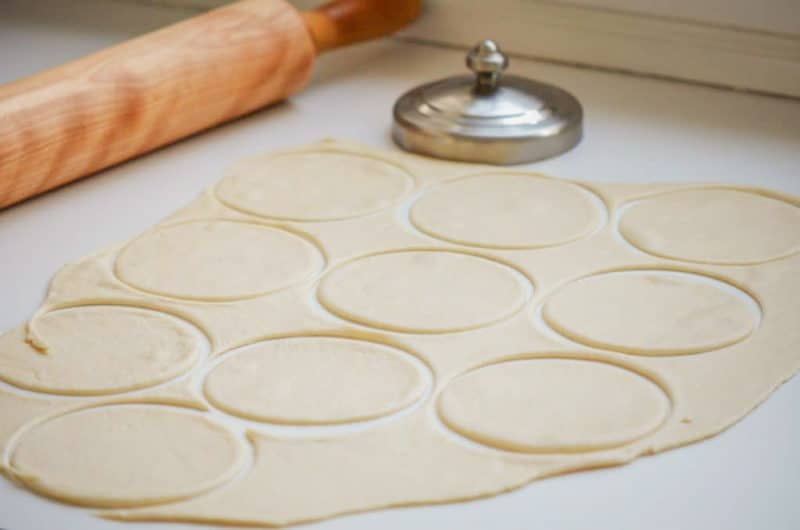 Rolled dough cut in circles