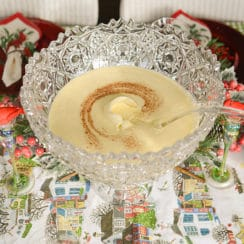 Eggnog with cinnamon swirl in a crystal punch bowl