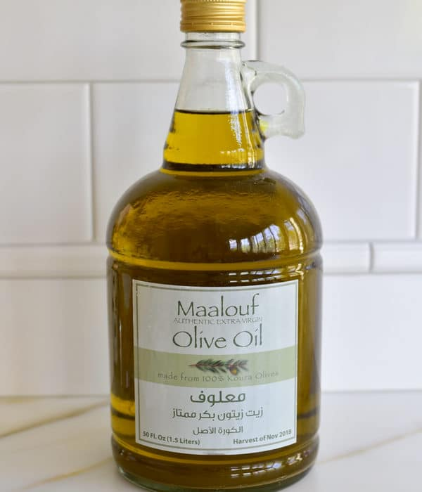 Lebanese olive oil jug on the counter