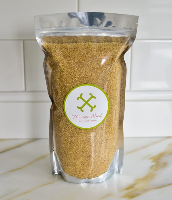 Silver pouch of fine bulgur wheat on the counter